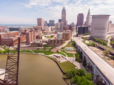 Cleveland skyline and the Cuyahoga River