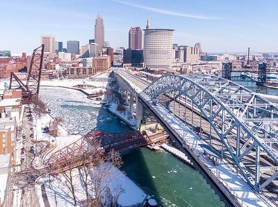 Cleveland winter skyline