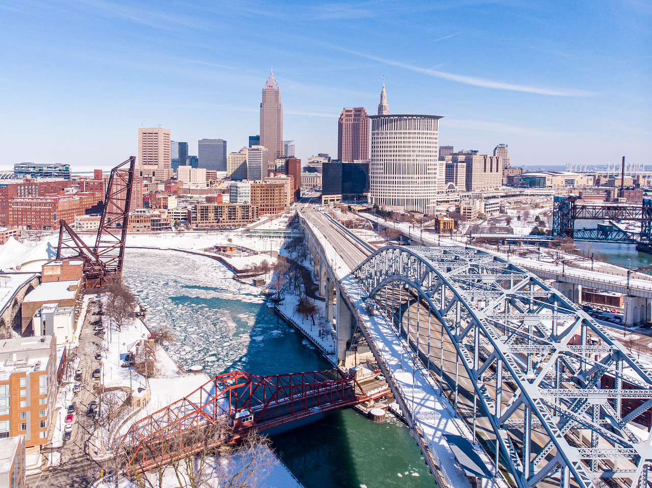 Cleveland skyline in winter