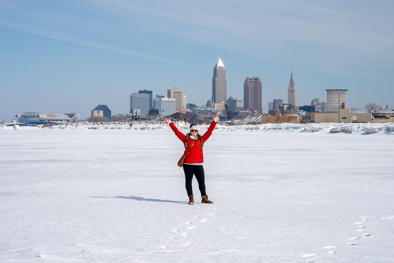Amanda on frozen Lake Erie