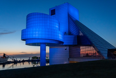 Rock and Roll Hall of Fame at dusk
