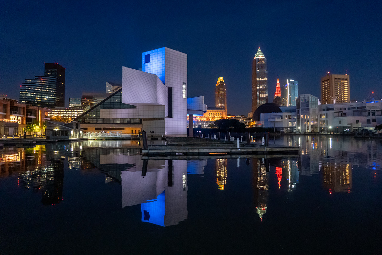 North Coast Harbor in Cleveland at night