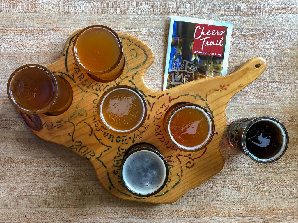 Beer flight at Kelleys Island Brewery