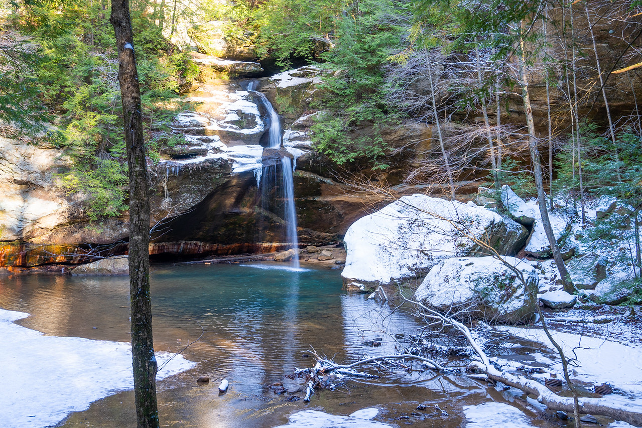 Waterfall in the Hocking Hills in winter