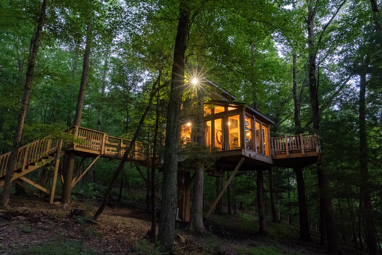 The View tree house at dusk