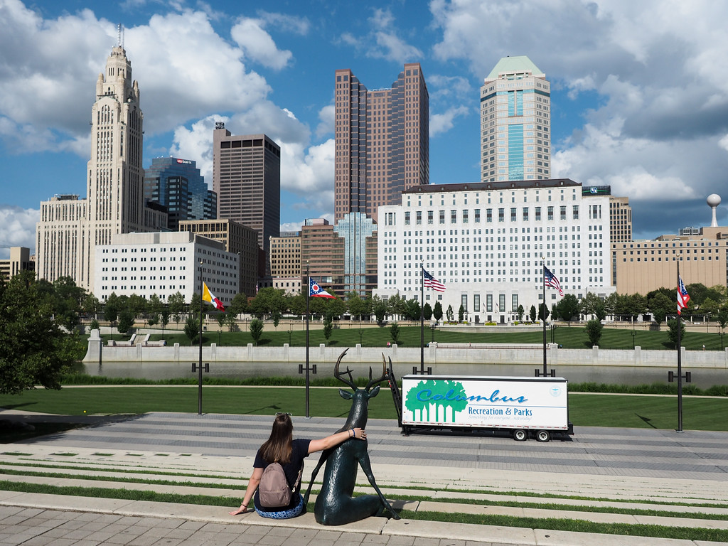 Downtown Columbus art and skyline