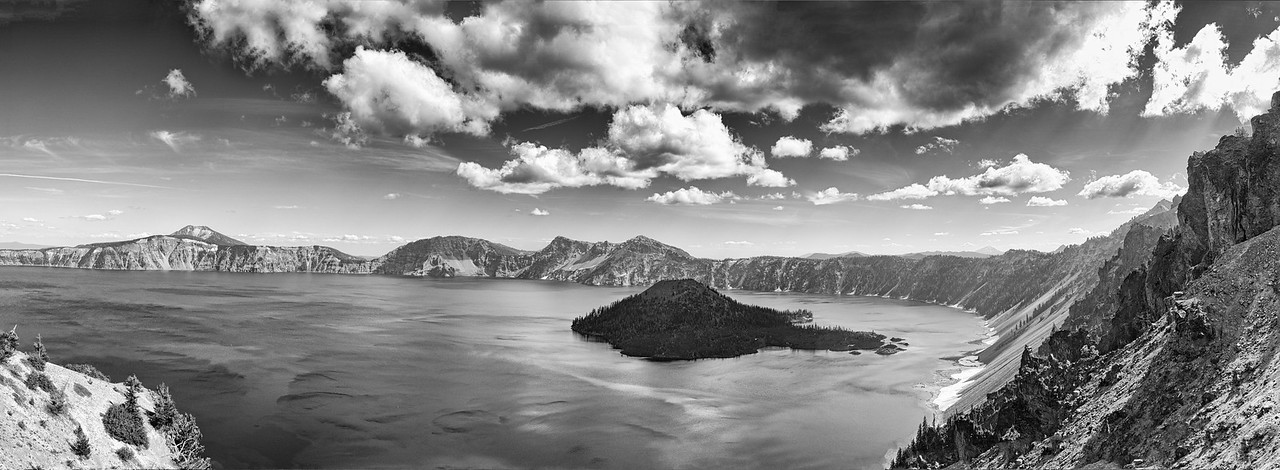 Breathtaking panorama of the magnificent Crater Lake. Stitched with 12 (handheld shot) vertical frames.