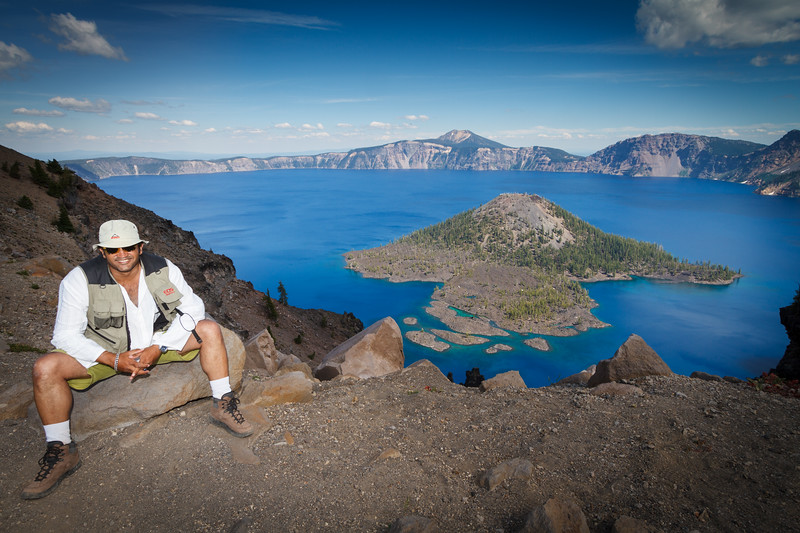 The Artist enjoying the Beauty of the Crater Lake.