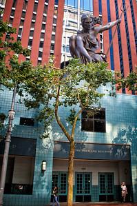 The famous and impressive Portlandia Statue.