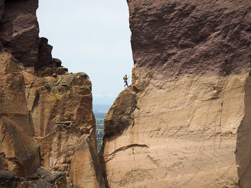 Rock climber at Smith Rock State Park