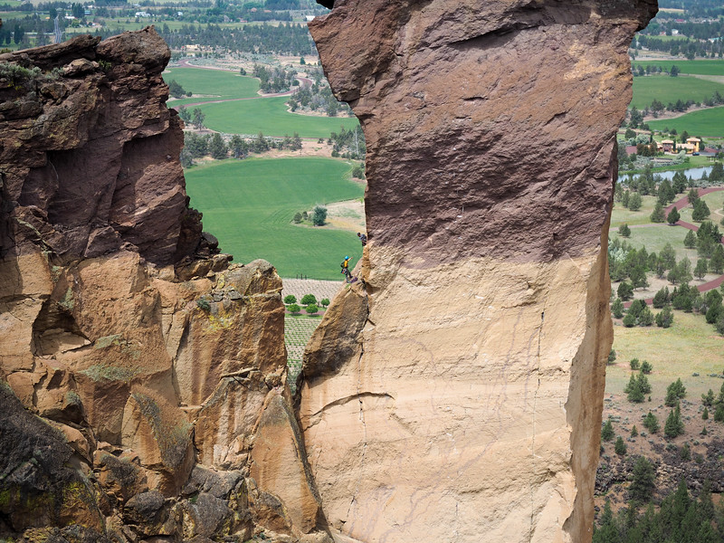 Rock climbers at Smith Rock State Park in Oregon