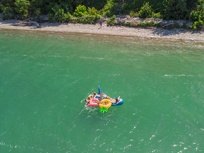 Pool floats in Lake Erie