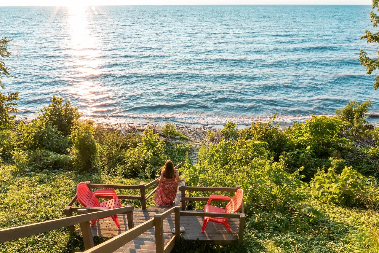 Amanda at Lake Erie at sunset