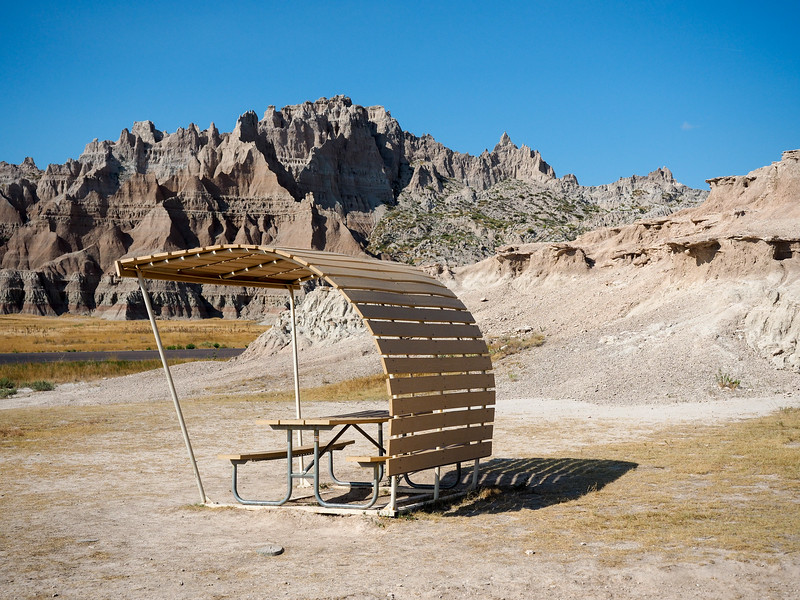 Picnic spot in Badlands National Park