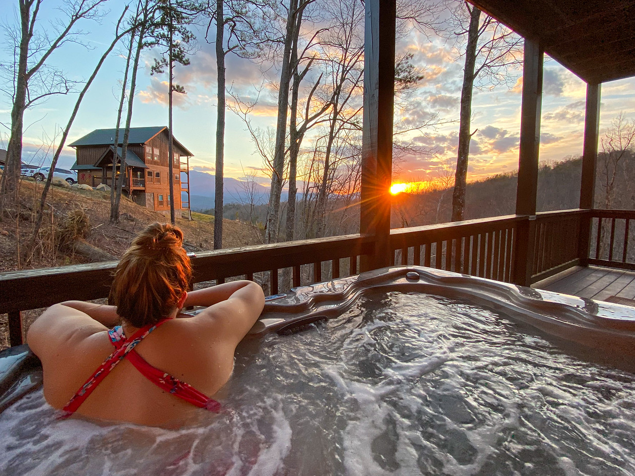 Hot tub sunsets in the Smokies