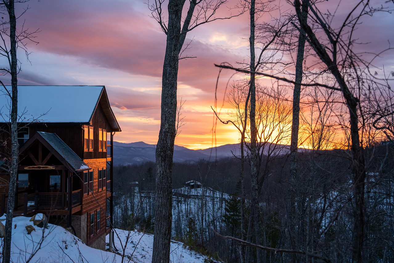 Sunset at a cabin in the Smokies