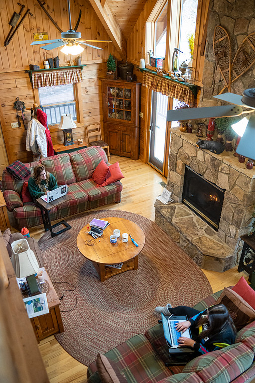 Working in a mountain cabin