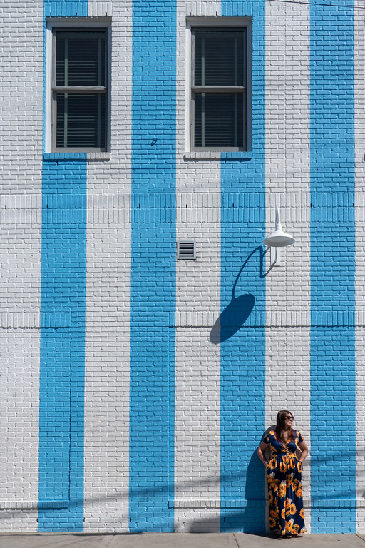 Nashville blue stripes mural