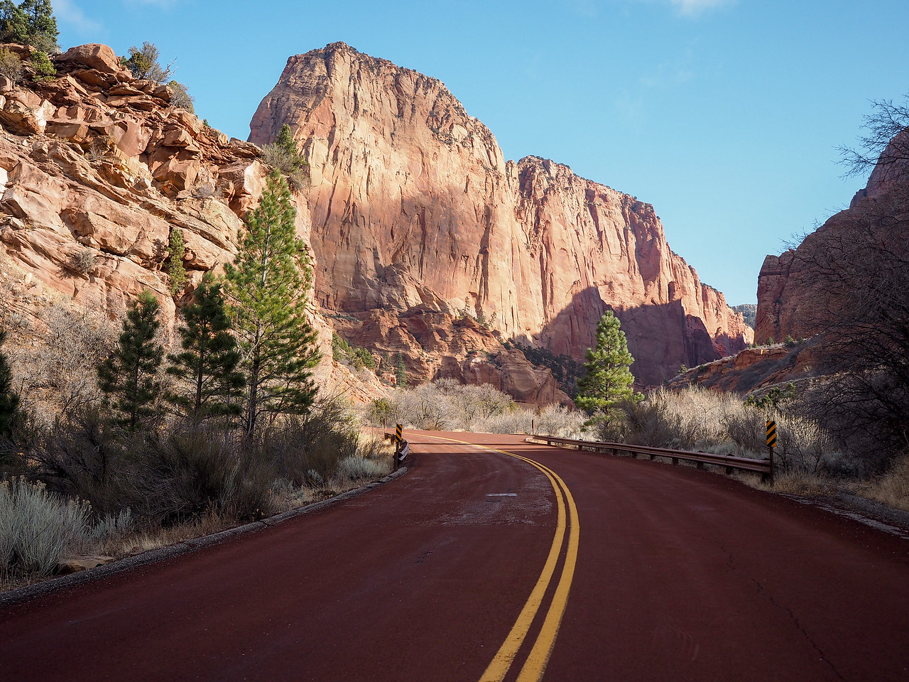 Driving through Kolob Canyons at Zion National Park