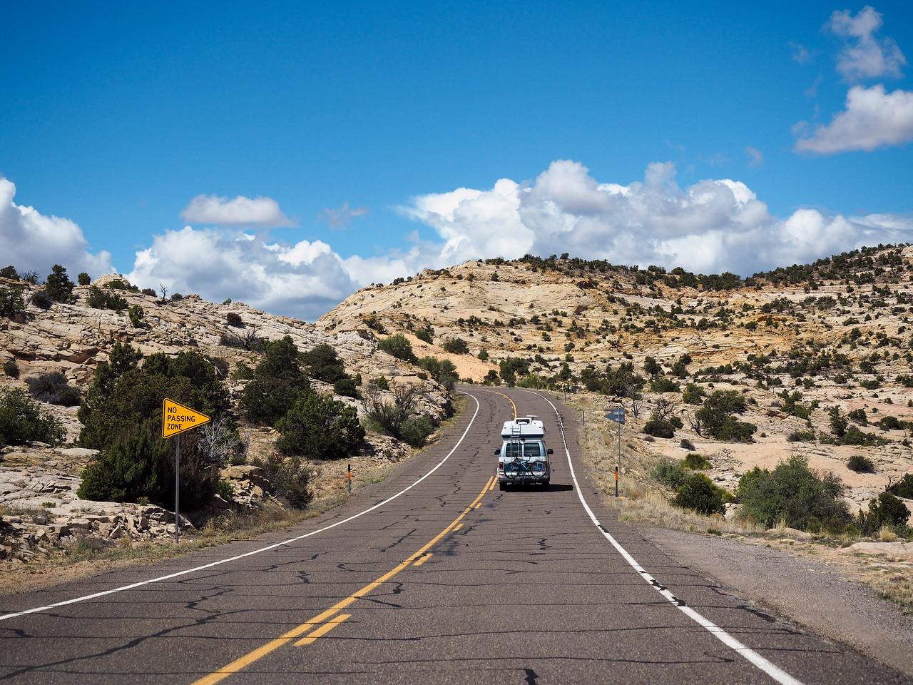 Campervan on a road in Utah
