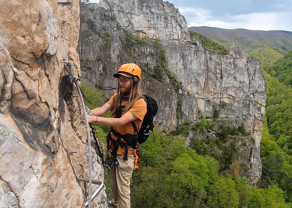 Climbing a via ferrata