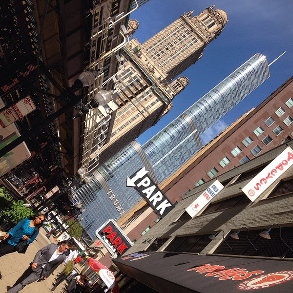 Chicago, my kinda' town. Look up, tilt head, repeat. Downtown on The Loop, looking north to Trump Tower and 35 E Wacker (Jewelers Building), a building that once featured drive-in elevators so the diamond merchants couldn't be robbed en route to the office. via Instagram http://ift.tt/ZMQJQ6