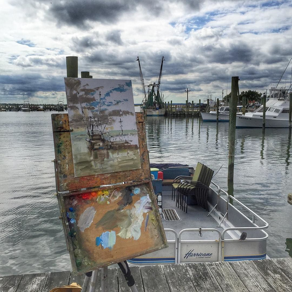 Art imitates life, dappled skies and the marina at Chincoteague Island, Eastern Shore. via Instagram http://ift.tt/1JnNFst