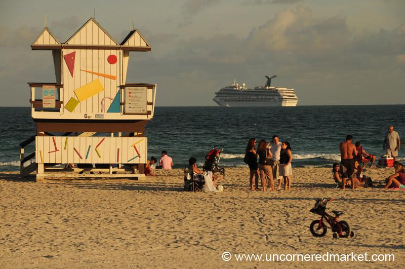 Beach Scene and Cruise Ship - Miami, Florida