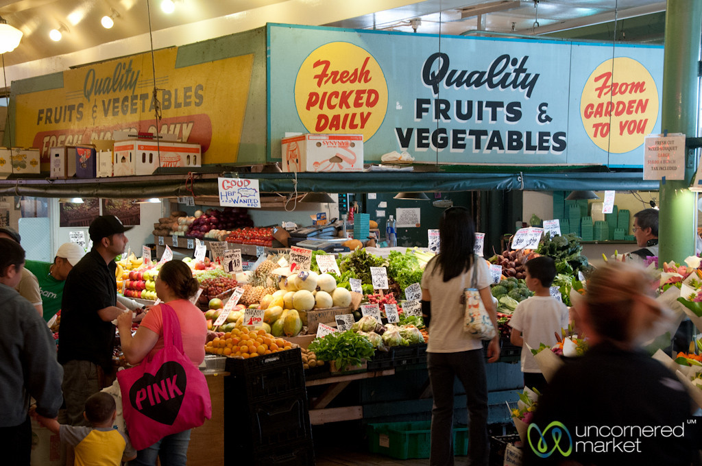 Pike Place Market Vegetable Stands - Seattle, Washington