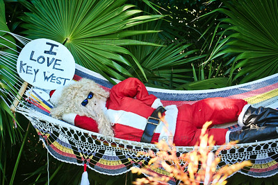 Santa in Hammock I Love Key West