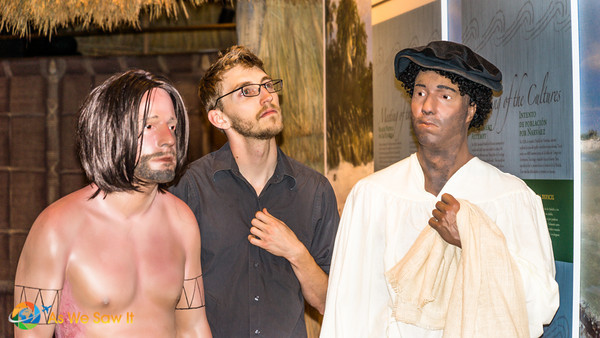 Displays shows (from left to right) a caveman, neoclassical modern man and a renaissance man.
