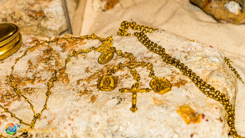 Gold pieces found from sunken Spanish merchant ships.