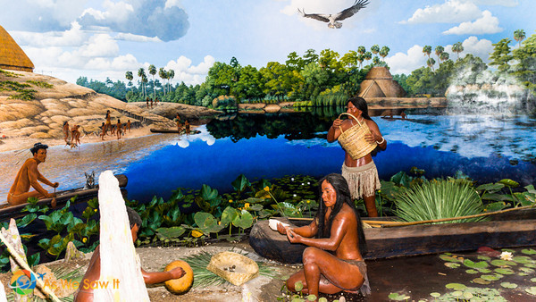 Diorama showing life in early central Florida indian villages