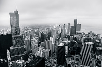 Chicago Skyline Near North Side from above the ground - Black and White