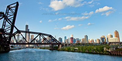 Chicago River South Branch with Rail Bridge and Chicago Skyline