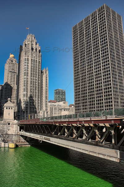 Chicago River Dyed Green near Tribune Tower
