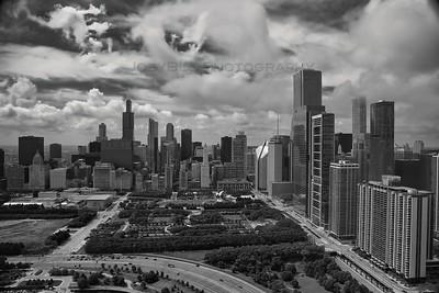 Aerial Chicago at Millennium Park