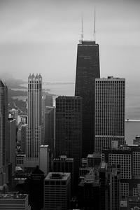 Chicago's John Hancock Center in Black and White - Vertical
