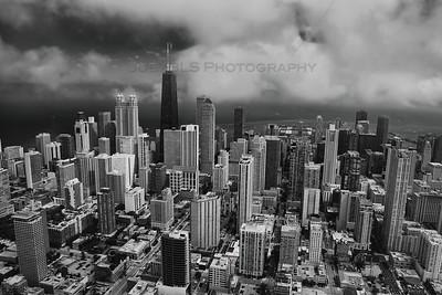 Aerial Chicago Near North Loop