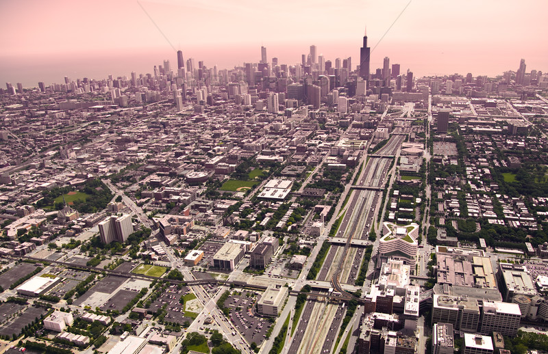 Aerial of the Chicago Skyline - Pretty in Pink