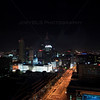 A shooting star over the Indianapolis skyline at night. Taken from the JW Marriott Hotel - January 2012.