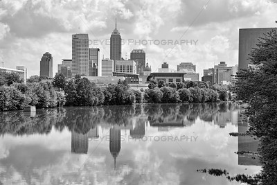 Indianapolis, Indiana Skyline on the White River in Black and White