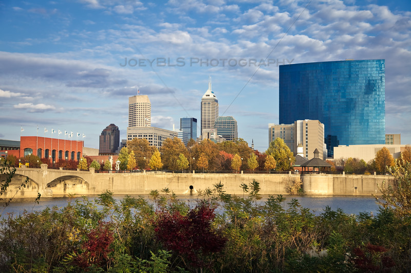 Downtown Indianapolis, Indiana Fall White River Golden Hour