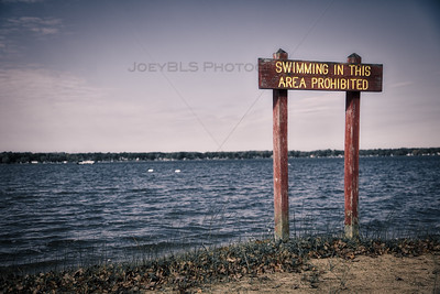 Bass Lake, Indiana - Swimming Prohibited Sign