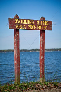 Bass Lake, Indiana - Swimming Prohibited Sign