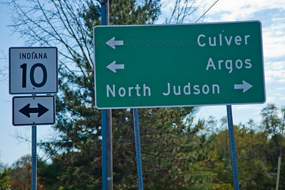 Bass Lake, Indiana Road Sign to Culver, Argos, and North Judson