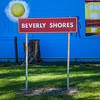 Beverly Shores Sign with Artsy Background