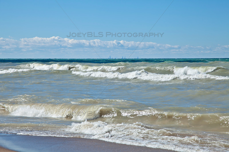 Chicago Skyline from Beverly Shores, Indiana
