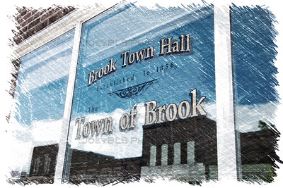 Town of Brook, Indiana - Brook Town Hall Window Sketch