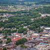 Aerial downtown Crown Point, Indiana with Chicago Skyline